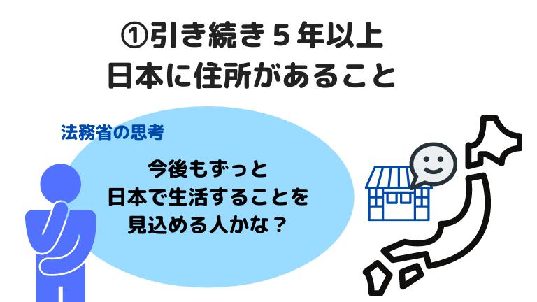 ①引き続き5年以上 日本に住所があること